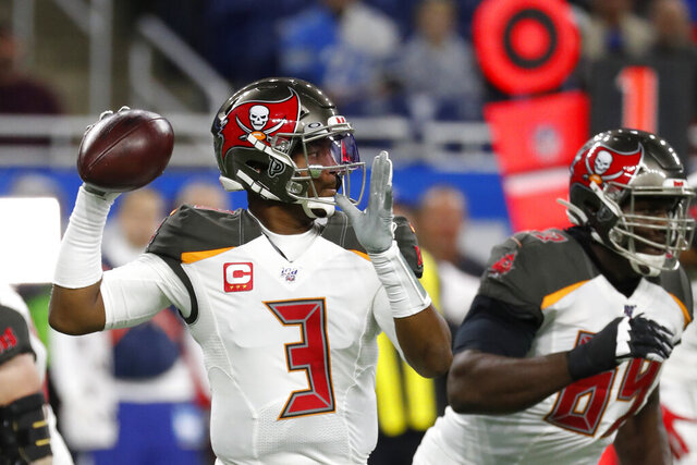Tampa Bay Buccaneers quarterback Jameis Winston throws during the first half of an NFL football game against the Detroit Lions, Sunday, Dec. 15, 2019, in Detroit. (AP Photo/Rick Osentoski)