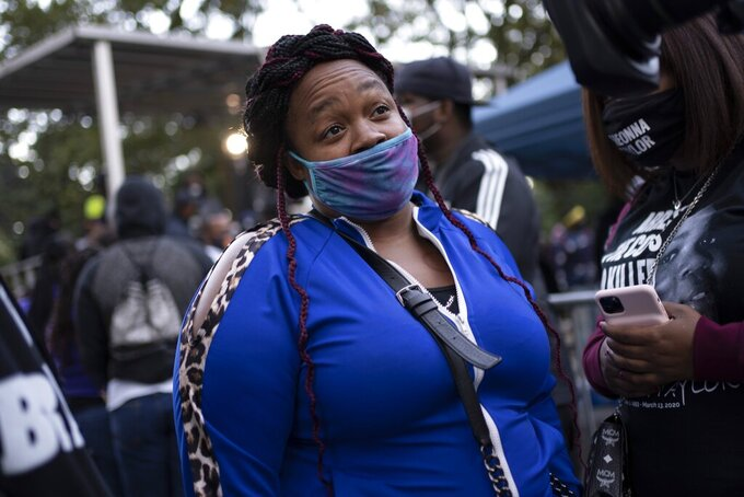 """Tamika Palmer, the mother of Breonna Taylor, after attending the """"State of Emergency"""" rally calling for justice in Taylor's shooting, Saturday, Oct. 17, 2020, in New York. (AP Photo/Wong Maye-E)"""