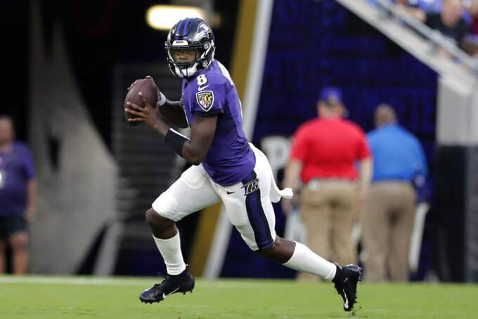 FILE - In this Aug. 8, 2019, file photo, Baltimore Ravens quarterback Lamar Jackson rolls out against the Jacksonville Jaguars during the first half of an NFL football preseason game, in Baltimore. Jackson was born in Pompano Beach, Fla., around 30 minutes from Hard Rock Stadium. So, Jackson's family and friends will be among the fans rooting for the Ravens against the Miami Dolphins on Sunday in (AP Photo/Julio Cortez)
