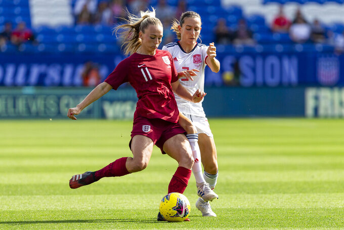 FILE - In this Wednesday, March 11, 2020 file photo, England's Toni Duggan, front, in action during the first half of a SheBelieves Cup soccer match, in Frisco, Texas. England international Toni Duggan has returned to Everton, it was announced Friday, July 9, 2021. She's signed a two-year contract with the club after debuting there in 2007. The 29-year-old forward had spent four seasons in Spain playing for Barcelona and then Atletico Madrid. (AP Photo/Sam Hodde, file)