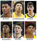 THIS CORRECTS NAMES - FILE - These are 2020 file photos showing, from top left, left, Jared Butler, Cade Cunningham, Luka Garza, Ayo Dosunmu, Corey Kispert and Remy Martin. Seniors Luke Garza of Iowa and Baylor's Jared Butler headline The Associated Press 2020-21 preseason All-America team. Garza was the lone unanimous choice, receiving all 64 votes from a media panel on the team released Wednesday, Nov. 11, 2020. They were joined by Oklahoma State freshman Cade Cunningham, Illinois junior Ayo Dosunmu, Gonzaga senior Corey Kispert and Arizona State senior Remy Martin. Kispert and Martin tied for the final spot with 26 votes each. (AP Photo/FIle