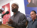 Amin Muhammad, imam of the Masjid Mohammed mosque in Atlantic City N.J. speaks at a church in the city on Jan. 15, 2020. Mayor Marty Small called a press conference to rally opposition to a proposed change of government that would eliminate an elected mayor. A vote has been set for March 31. (AP Photo/Wayne Parry)