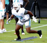 Miami Dolphins tackle Austin Jackson (73) attends the team's NFL football training facility in Davie, Fla., Monday, Sept. 28, 2020. (Charles Trainor Jr./Miami Herald via AP)