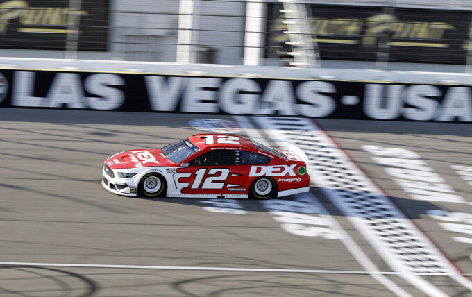 Ryan Blaney drives during a NASCAR Cup Series auto race Sunday, Sept. 27, 2020, in Las Vegas. (AP Photo/Isaac Brekken)