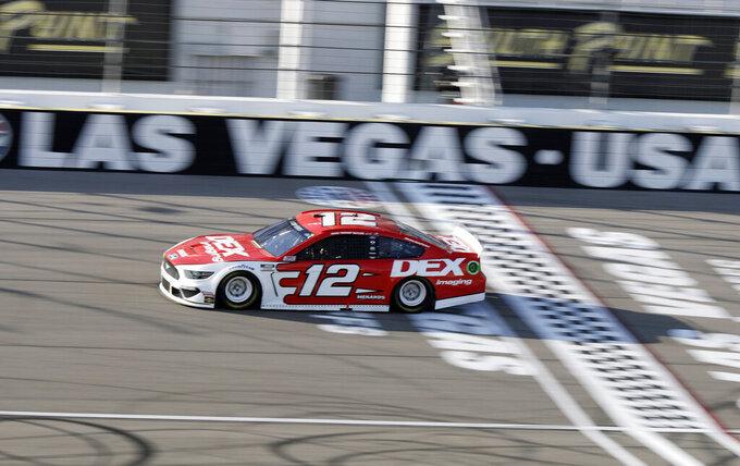 Ryan Blaney drives during a NASCAR Cup Series auto race Sunday, Sept. 27, 2020, in Las Vegas. (AP Photo/Isaac Brekken)