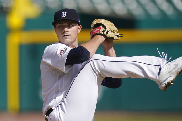 Detroit Tigers pitcher Tarik Skubal throws during the first inning of the second baseball game of a doubleheader against the Minnesota Twins, Saturday, Aug. 29, 2020, in Detroit. (AP Photo/Carlos Osorio)