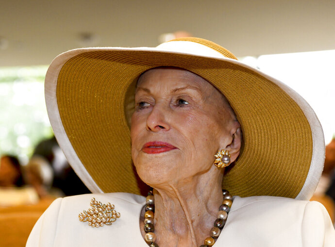 In this Aug. 3, 2018 photo, Marylou Whitney is seen at the National Museum of Racing and Hall of Fame in Saratoga Springs, N.Y. Philanthropist, socialite and horse-racing enthusiast Marylou Whitney, known as the