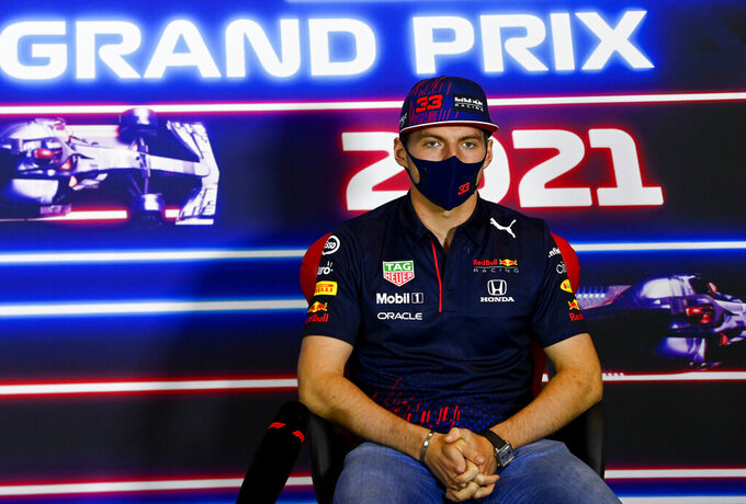 Red Bull driver Max Verstappen of the Netherlands attends a media conference at the Silverstone circuit, Silverstone, England, Thursday, July 15, 2021. The British Formula One Grand Prix will be held on Sunday. (Mark Sutton, Pool Photo via AP)