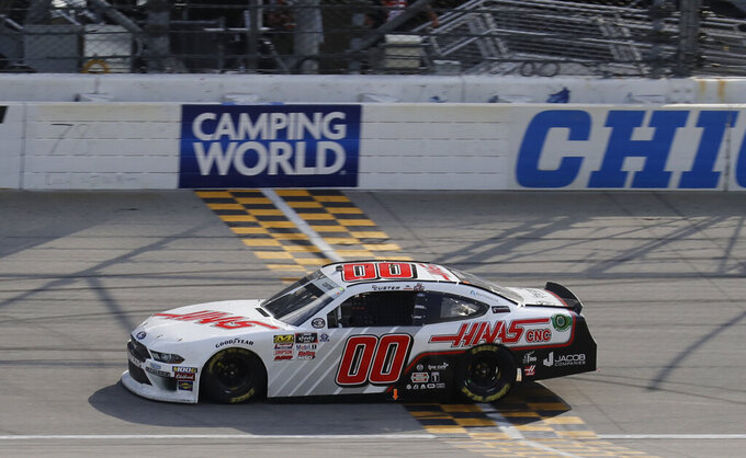 Cole Custer crosses the finish line to win the NASCAR Xfinity Series auto race at Chicagoland Speedway in Joliet, Ill., Saturday, June 29, 2018. (AP Photo/Nam Y. Huh)