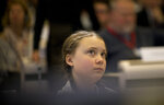 Swedish climate activist Greta Thunberg attends an event at the EU Charlemagne building in Brussels, Thursday, Feb. 21, 2019. Thunberg will also participate in a climate march through the city later in the day. (AP Photo/Virginia Mayo)