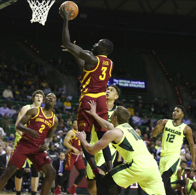 Iowa State guard Marial Shayok (3) scores past Baylor guard Makai Mason (10) during the first half of an NCAA college basketball game Tuesday, Jan. 8, 2019, in Waco, Texas. (AP Photo/Rod Aydelotte)