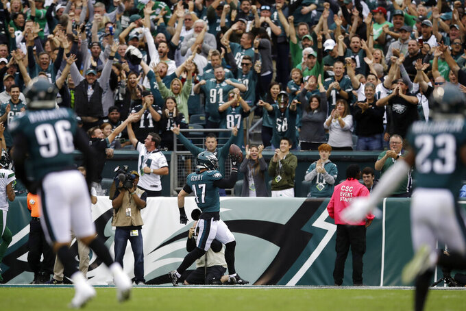 Philadelphia Eagles' Nate Gerry celebrates after scoring a touchdown on an intercepted pass during the first half of an NFL football game against the New York Jets, Sunday, Oct. 6, 2019, in Philadelphia. (AP Photo/Matt Rourke)