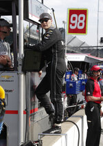 Josef Newgarden stands on the pit walk during practice fort the IndyCar Indianapolis 500 auto race at Indianapolis Motor Speedway, in Indianapolis Tuesday, May 15, 2018. (AP Photo/Michael Conroy)