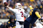 Stanford quarterback K.J. Costello (3) passes against California  in the second quarter of a football game in Berkeley, Calif., Saturday, Dec. 1, 2018. (AP Photo/John Hefti)