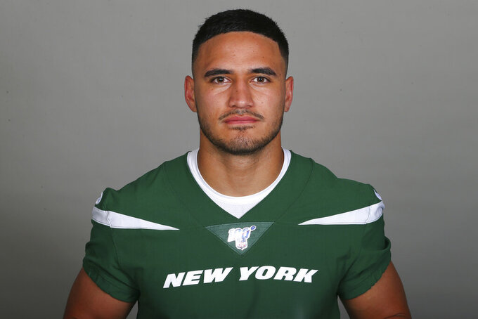 FILE - This is a 2019 file photo showing Valentine Holmes of the New York Jets NFL football team. Holmes was a big star in the National Rugby League in Australia. And then, he stunningly left it all behind. Holmes is in training camp with the New York Jets, trying to fulfill a dream of playing American football in the NFL. (AP Photo/File)