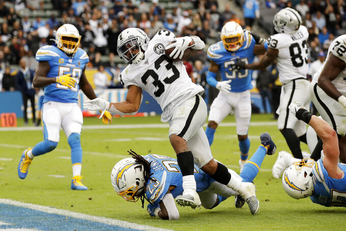 Oakland Raiders running back DeAndre Washington scores poverties Los Angeles Chargers strong safety Rayshawn Jenkins during the second half of an NFL football game Sunday, Dec. 22, 2019, in Carson, Calif. (AP Photo/Marcio Jose Sanchez)