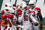 Arizona Cardinals wide receiver DeAndre Hopkins (10) celebrates after scoring a touchdown during the second half of an NFL football game against the New York Jets, Sunday, Oct. 11, 2020, in East Rutherford. (AP Photo/Seth Wenig)