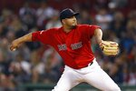 Boston Red Sox's Jhoulys Chacin pitches during the first inning of the team's baseball game against the New York Yankees in Boston, Friday, Sept. 6, 2019. (AP Photo/Michael Dwyer)