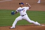 Los Angeles Dodgers starting pitcher Julio Urias throws against the San Diego Padres during the first inning of a baseball game Thursday, Aug. 13, 2020, in Los Angeles. (AP Photo/Jae C. Hong)