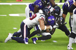 Baltimore Ravens quarterback Lamar Jackson (8) is sacked by Houston Texans defensive end J.J. Watt (99) during the first half of an NFL football game Sunday, Sept. 20, 2020, in Houston. (AP Photo/Eric Christian Smith)