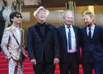 FILE - In this July 13, 2021 file photo Timothee Chalamet, from left, Bill Murray, Hippolyte Girard, and Owen Wilson pose for photographers upon arrival at the premiere of the film 'The French Dispatch' at the 74th international film festival, Cannes, southern France. (AP Photo/Brynn Anderson, File)