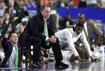 Michigan State head coach Tom Izzo watches from the bench during the second half against Texas Tech in the semifinals of the Final Four NCAA college basketball tournament, Saturday, April 6, 2019, in Minneapolis. (AP Photo/David J. Phillip)