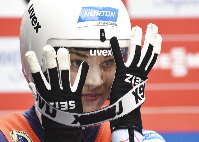 FILE - Summer Britcher of the United States prepares to compete in the women's competition at the Luge World Cup in Sochi, Russia, in this Saturday, Feb. 23, 2019, file photo. Friday, Jan. 1, 2021, marked the first day of international competition for American sliders this season, with USA Luge's Summer Britcher placing third in a Nation's Cup race at Königssee, Germany. (AP Photo/Ekaterina Lyzlova, File)