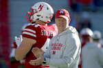 Nebraska head coach Scott Frost applauds during warmups before an NCAA college football game against Bethune-Cookman in Lincoln, Neb., Saturday, Oct. 27, 2018. (AP Photo/Nati Harnik)