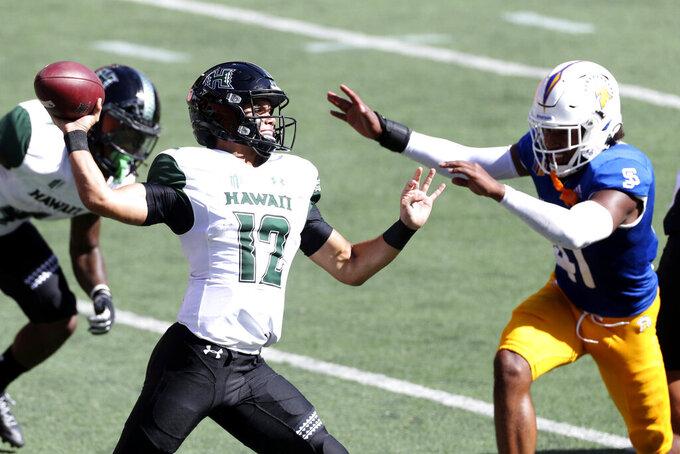 San Jose State linebacker Hadari Darden (41) puts pressure on Hawaii quarterback Chevan Cordeiro (12) in the first half of an NCAA college football game Saturday, Dec. 5, 2020, in Honolulu. (AP Photo/Marco Garcia)