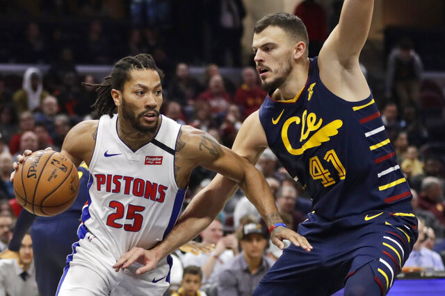 Detroit Pistons' Derrick Rose (25) drives against Cleveland Cavaliers' Ante Zizic (41) in the second half of an NBA basketball game, Tuesday, Jan. 7, 2020, in Cleveland. Detroit won 115-113.(AP Photo/Tony Dejak)