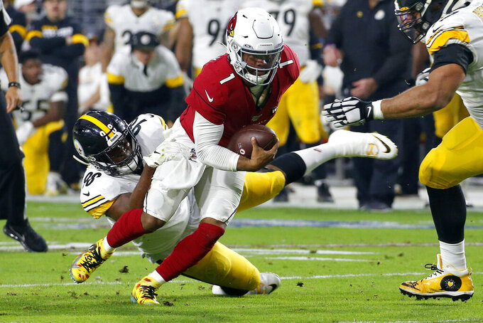 Arizona Cardinals quarterback Kyler Murray (1) is sacked by Pittsburgh Steelers inside linebacker Vince Williams (98) during the first half of an NFL football game, Sunday, Dec. 8, 2019, in Glendale, Ariz. (AP Photo/Ross D. Franklin)