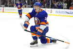 New York Islanders' Anthony Beauvillier (18) celebrates after scoring a goal during the second period of an NHL hockey game against the Toronto Maple Leafs Wednesday, Nov. 13, 2019, in Uniondale, N.Y. (AP Photo/Frank Franklin II)