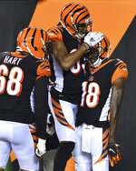 Cincinnati Bengals wide receiver A.J. Green (18) celebrates his touchdown in the first half of an NFL football game against the Baltimore Ravens, Thursday, Sept. 13, 2018, in Cincinnati. (AP Photo/Bryan Woolston)