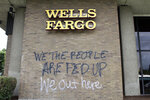 Graffiti covers the exterior of a Wells Fargo bank on Wednesday, July 1, 2020, in a historically Black neighborhood in Portland, Ore., that has been the scene of violent clashes with police in recent days. Thousands of protesters in the liberal and predominantly white city have taken to the streets peacefully every day for more than five weeks to decry police brutality, but recent violence by smaller groups is creating a deep schism in the protest movement. As demonstrations enter their second month, they have shifted to a historically Black neighborhood in North Portland. (AP Photo/Gillian Flaccus)