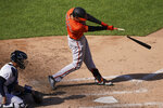 Baltimore Orioles' Ryan Mountcastle breaks his bat while hitting a double off New York Yankees relief pitcher Zack Britton in the eighth inning of a baseball game, Saturday, Sept. 12, 2020, in New York. (AP Photo/John Minchillo)