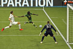 Portland Timbers' Yimmi Chara chases down the ball during the first half of the team's MLS soccer match against the LA Galaxy on Wednesday, Oct. 28, 2020, in Portland, Ore. (Sean Meagher/The Oregonian via AP)