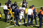Denver Broncos wide receiver Jerry Jeudy (10) is helped from the field after being injured during the first half of an NFL football game against the Pittsburgh Steelers, Sunday, Sept. 20, 2020, in Pittsburgh. (AP Photo/Keith Srakocic)