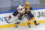 Nashville Predators' Yannick Weber (7) is checked by Arizona Coyotes' Derek Stepan (21) during the first period NHL qualifying round game action in Edmonton, on Sunday, Aug. 2, 2020. (Jason Franson/The Canadian Press via AP)