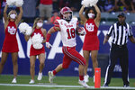 Utah wide receiver Britain Covey (18) runs to the end zone for a touchdown during the first half of an NCAA college football game against San Diego State Saturday, Sept. 18, 2021, in Carson, Calif. (AP Photo/Ashley Landis)