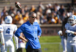 Memphis head coach Mike Norvell watches his team warm up before an NCAA college football game against Missouri, Saturday, Oct. 20, 2018, in Columbia, Mo. (AP Photo/L.G. Patterson)