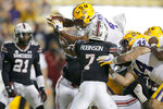 LSU running back John Emery Jr. (4) scores a touchdown against South Carolina during the second half of an NCAA college football game in Baton Rouge, La., Saturday, Oct. 24, 2020. (AP Photo/Brett Duke)
