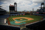 Philadelphia Phillies baseball players practice at Citizens Bank Park, Tuesday, July 7, 2020, in Philadelphia. (AP Photo/Matt Slocum)
