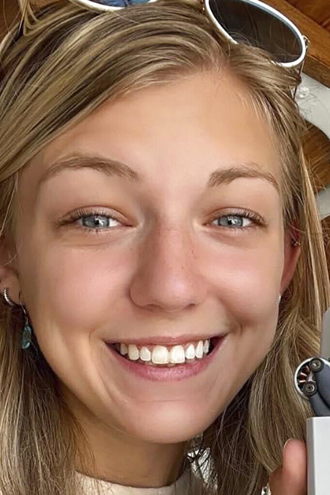 """This undated photo provided by the North Port, Fla., Police Department shows Gabrielle """"Gabby"""" Petito. Petito, 22, vanished while on a cross-country trip in a converted camper van with her boyfriend. Investigators say she last contacted her family in late August 2021 when the couple was visiting Wyoming's Grand Teton National Park. Much of their trip was documented on social media accounts that abruptly ceased. (Courtesy of North Port Police Department via AP)"""