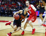 Southern California guard Derryck Thornton (5) drives as Utah guard Parker Van Dyke (5) defends in the first half during an NCAA college basketball game Thursday, March 7, 2019, in Salt Lake City. (AP Photo/Rick Bowmer)