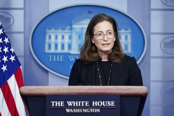 Gender Policy Council co-chair Jennifer Klein speaks during a press briefing at the White House, Monday, March 8, 2021, in Washington. (AP Photo/Patrick Semansky)