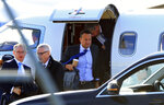 Ireland's Prime Minister Leo Varadkar arrives at Liverpool Airport, north west England, ahead of private talks with Britain's Prime Minister Boris Johnson on Thursday Oct. 10, 2019. (Peter Byrne/PA via AP)
