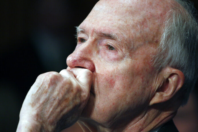 FILE - In this March 5, 2009 file photo, former National Security Adviser Brent Scowcroft testifies on Capitol Hill in Washington. A longtime adviser to Presidents Gerald Ford and George H.W. Bush has died. Brent Scowcroft was 95. A spokesperson for the late President Bush says Scowcroft died Thursday of natural causes at his home in Falls Church, Virginia.  (AP Photo/Harry Hamburg)