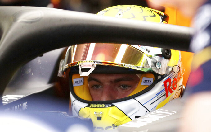 Red Bull driver Max Verstappen of the Netherland's waits sitting on his car during the third free practice session for the Austrian Formula One Grand Prix at the Red Bull Ring racetrack in Spielberg, southern Austria, Saturday, June 29, 2019. The race will be held on Sunday. (AP Photo/Ronald Zak)