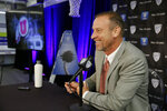 Utah head coach Larry Krystkowiak answers questions during the Pac-12 NCAA college basketball media day Thursday, Oct. 11, 2018, in San Francisco. (AP Photo/Eric Risberg)