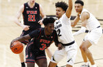 Utah forward Donnie Tillman, left, drives to the rim as Colorado guard Daylen Kountz defends during the first half of an NCAA college basketball game Saturday, March 2, 2019, in Boulder, Colo. (AP Photo/David Zalubowski)